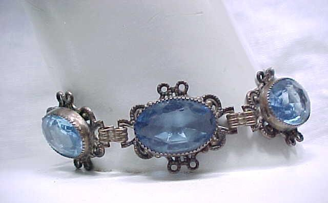 Lovely Czech Bracelet Filigree with Blue Rhinestones