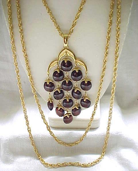 Trifari Rootbeer Waterfall Necklace, Goldtone Metal - Excellent