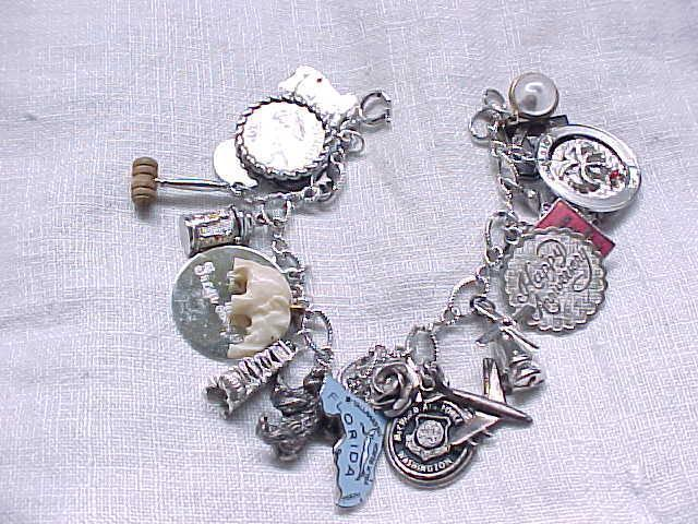 Sterling Silver Charm Bracelet - 20 Charms - 3 Mechanicals