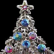 Silvertone Christmas Tree Pin - Aurora Borealis Rhinestones