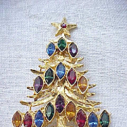 Christmas Tree Pin - Multi Color Navette Rhinestones
