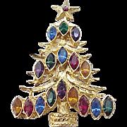 Christmas Tree Pin - Multi Color Navette Rhinestones