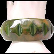 Deeply Carved Green Bakelite Bracelet