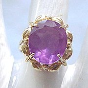 14K Gold Ring with Purple Stone - Size 7