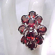 Gorgeous Sterling and Garnet Ring - Size 9 3/4