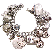 07 - Loaded Sterling Silver Charm Bracelet - 26 Charms - 2 Mechanicals