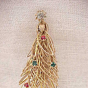 Fanciful Wire Christmas Tree Pin with Rhinestones