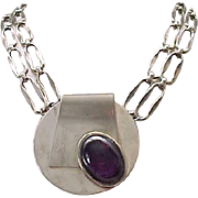 Awesome MOD Silvertone Necklace with Purple Cabochon