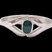 Superb Sterling Bracelet with Malachite Center