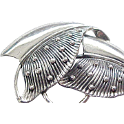 Stylish Early Danecraft Double Leaf Pin - Sterling Silver