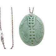 Large Jade Pendant on Sterling Silver Chain
