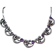 Lovely Sterling Necklace with Amethysts