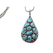 Exceptional Sterling and Turquoise Pendant Necklace
