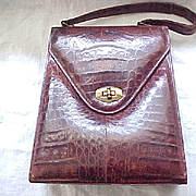Vintage Alligator Purse - Made in Cuba - Deep Brown Color