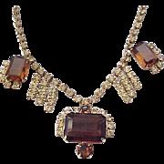 Elegant Topaz and Citrine Rhinestone Necklace