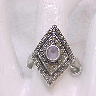 07 - Lovely Sterling and Marcasite Ring with Amethyst Center - Size 8