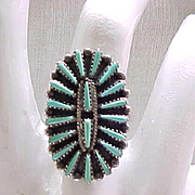 Exceptional Zuni Petit Point Sterling Ring - Size 8 3/4 - Signed