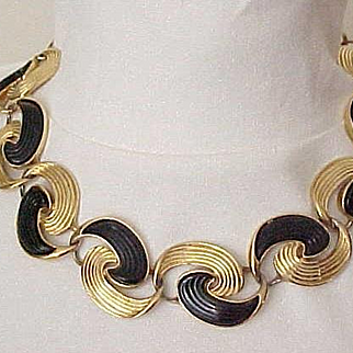 Chic Trifari Necklace with Black Enamel - Double Comma Shaped Links