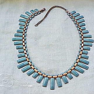 Beautiful Matisse Peter Pan Necklace, Earrings - Blue