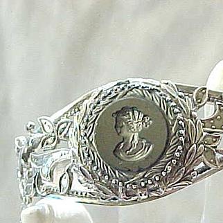 Lovely Whiting and Davis Intaglio Bracelet - Engraved Inside 1964