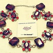 Red Vintage Signed Lilien Czech Demi Parure Necklace Earrings Set