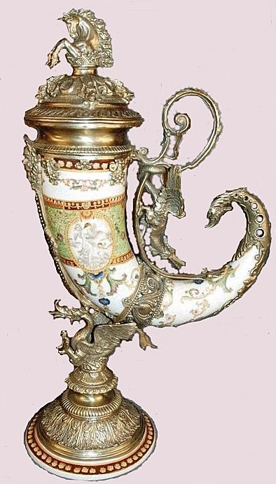 Antique White Bronze Mounted Drinking Horn ~ Dragon & Horse Motif