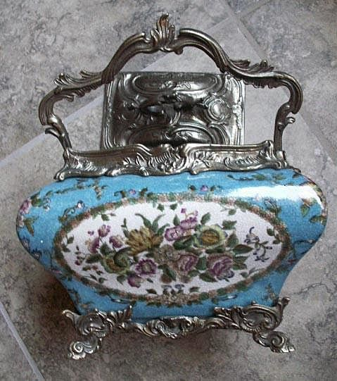 Antique Enamel Tea Caddy with Lid