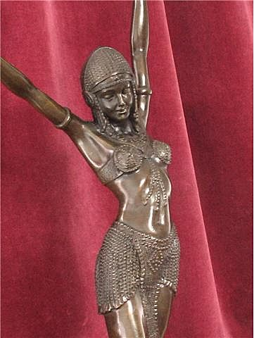 Bronze Art Deco Egyptian Dancer Signed Chiparus Sculpture