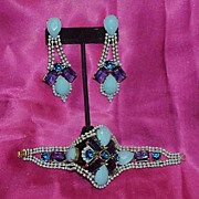 Husar D Czech Light Blue Opaques and Dark Blue Rhinestone Bracelet and Earring Demi Parure