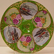 Hand Painted Oriental Oyster Plate Floral and Japanese Landscapes