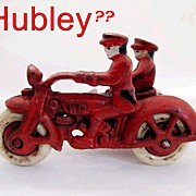 Hubley Harley Davidson Cast Iron Motorcycle & Side Car With Rider Toy