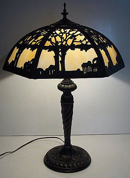 Scenic Metal Slag Glass Table Lamp - Forest Scene
