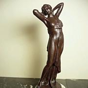 Bronze Goddess Nude Figurine On Marble Base