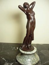 Bronze Goddess Nude Figurine On Marble Base