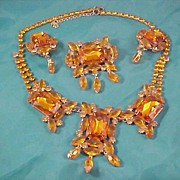 LILIEN© Orange Czech Glass Full Parure