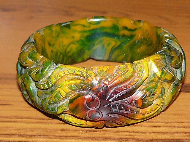 Green Marbled Wide Bakelite Bangle - Sea Creature!