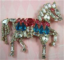 CZECH Rhinestone Prancing Horse Brooch Pin - Signed Lilien