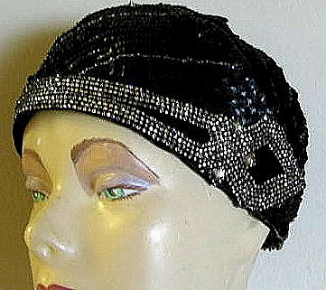 Sequined 'Flapper' Rhinestone Trim Cloche Hat and Matching 'Roaring Twenties' Headband