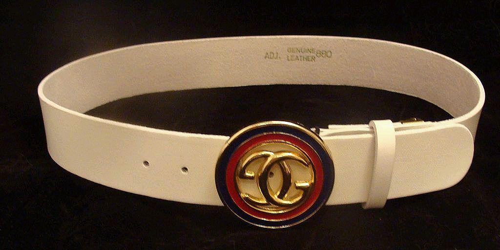 White Leather Gucci Designer Logo Belt from rlreproshop on ...