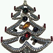 Czech Rhinestone Christmas Tree Tabletop Decoration