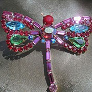Signed Czech Dragonfly Brooch