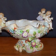 Cherubs on a Shell Bowl Blue Crossed Swords Mark