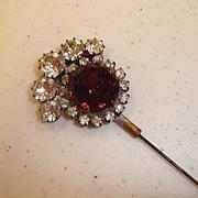 Purple Rhinestone Flower Victorian Hatpin