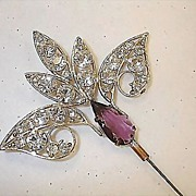Victorian Hatpin - Rhinestone with Purple or Amethyst Colored Glass