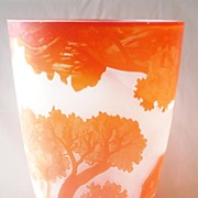 Large Signed Galle Acid Etched Glass Vase