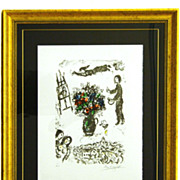 "Marc Chagall Signed and Numbered Lithograph ""Bouquet Over the Town"""
