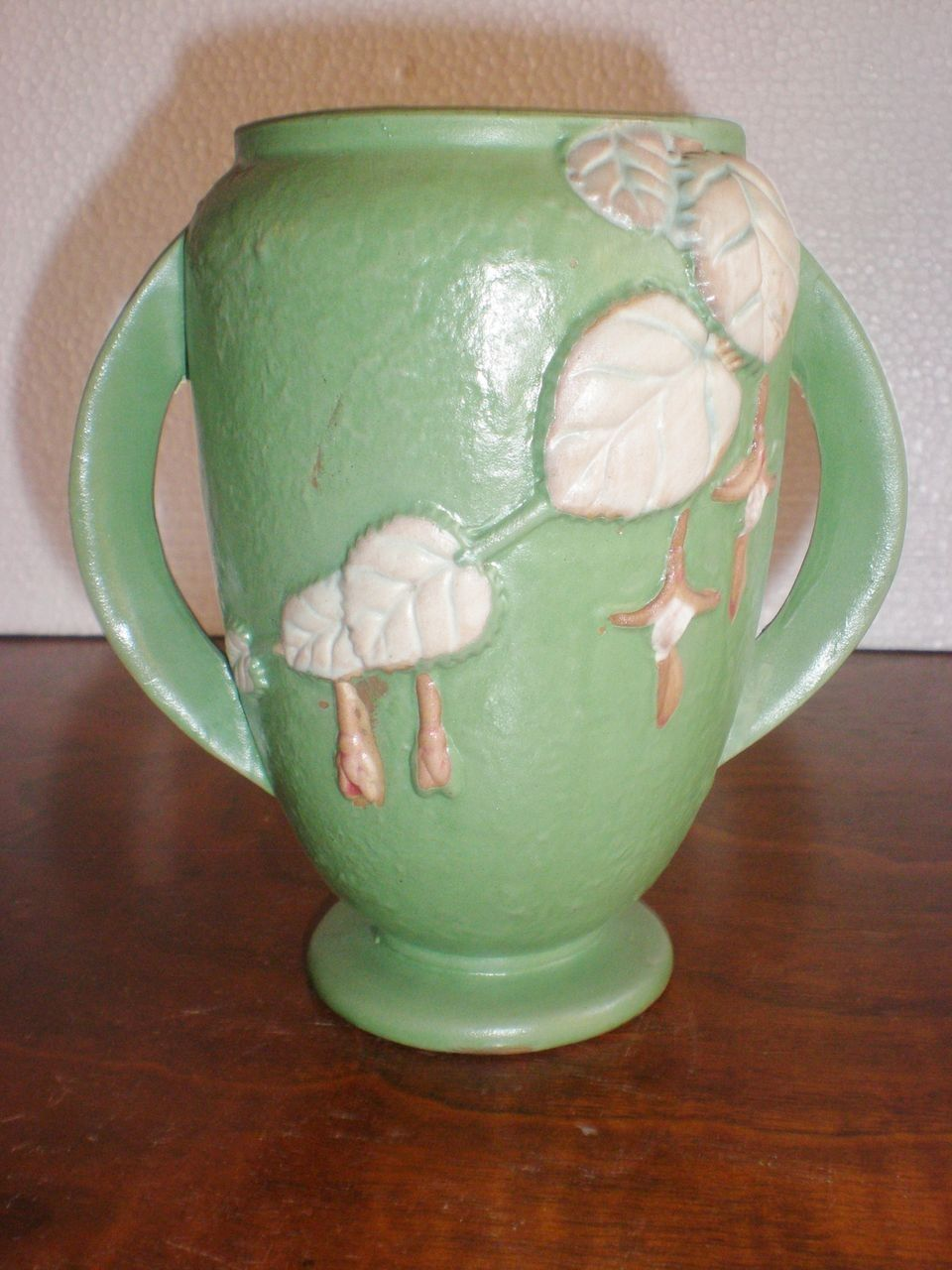 Fuchsia Pattern Roseville Pottery Vase in Matte Mint Green