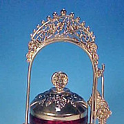 Ruby Red Cut to Clear Glass Pickle Castor in Silverplate Holder with Grapes and Birds
