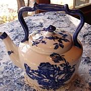 Blue and White Staffordshire Ironstone Tea Pot