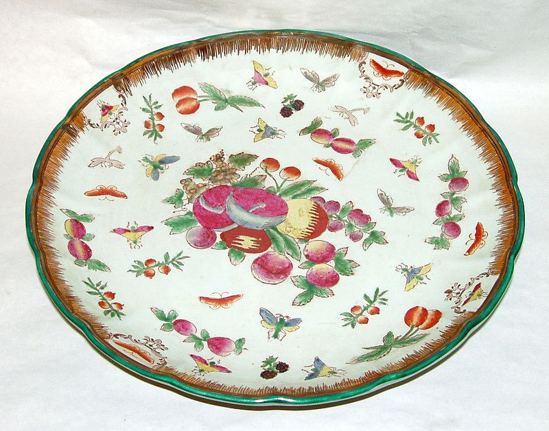 "Asian Pottery Insects and Fruits Hand Painted 12"" Raised Platter"